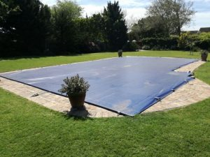 Blue PVC pool cover